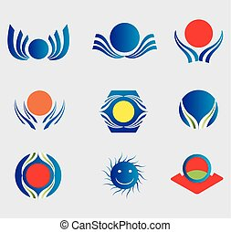 Sun logo Icons element Set