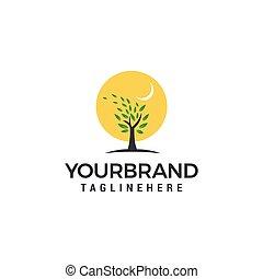 Sun logo with a tree Logo template vector