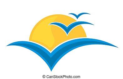sun Logo with seagulls. - A sun logo with sea and seagulls...