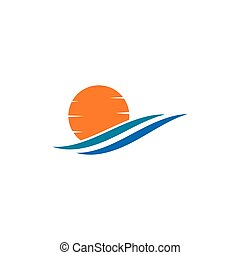 sun Logo with waves Icon Vector illustration