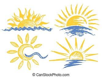 sun Logos with sea.