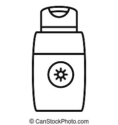 Sun lotion icon, outline style