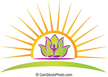 Sun, lotus and yoga figure logo vector