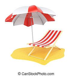 Sun lounger and parasol isolated on white background. 3d...