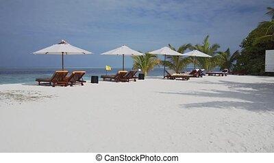 Sun Loungers and Beach Umbrellas on a Vaadhoo Island Beach -...
