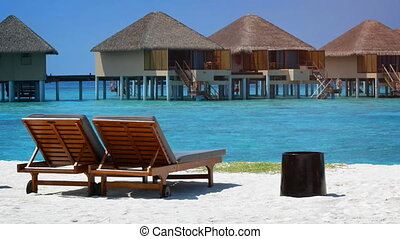 Sun Loungers on a Tropical Beach in the Maldives - Pair of...