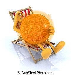 sun lying on beach chair