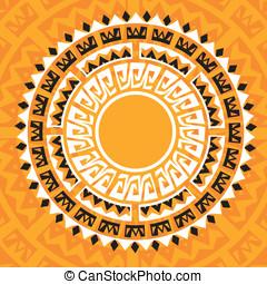 sun madala in maya style - vector illustration