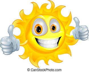 Sun man cartoon character - A sun cartoon mascot giving a ...