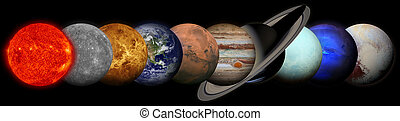 Sun, Mercury, Venus, Earth, Mars, Jupiter, Saturn, Uranus,...