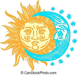Sun, month and stars. Vector in vintage style folklore