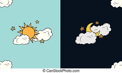 Sun, moon and stars. Day and night vector