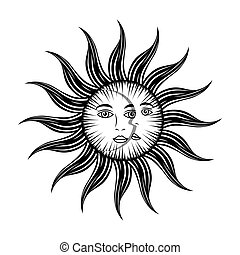 sun moon face mystic astrology mythological symbol vector ...