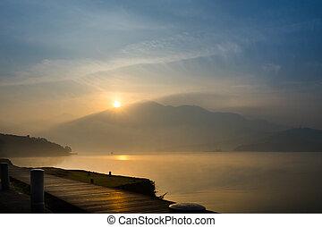 Sun Moon Lake at the morning