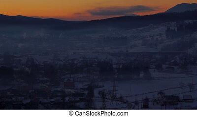 Sun morning dawn winter village