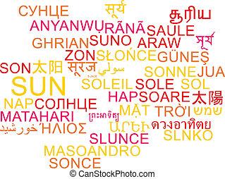 Sun multilanguage wordcloud background concept
