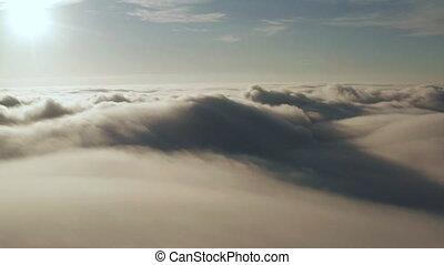 sun., na, przelotny, spóźniony, wieczorny, chmury