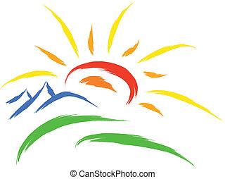 sun nature symbol - sun and mountain on grass, nature symbol