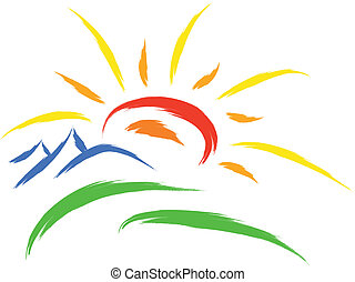 sun nature symbol - sun and mountain on grass, nature symbol
