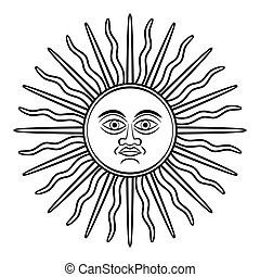 Sun of May, Sol de Mayo, on historical silver coins