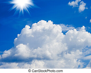 Sun on blue sky background