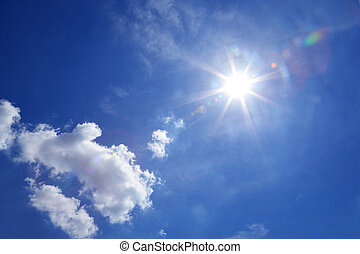Sun on blue sky with cloud - Sunlight or Crepuscular rays,...