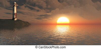 Landscape of sun on the horizon.