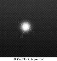 Sun or electric bulb flash light realistic effect vector illustration isolated.