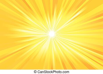 Sun or light rays vector - Vector illustration of a yellow...