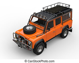 Sun orange heavy off road vehicle - top down view