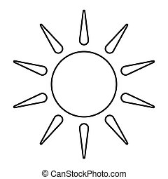 Sun outline isolated on white background . Line icon design element. Sunny Weather Element .Symbol for your web site design, app, UI. Vector illustration, EPS