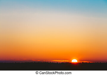 Sun Over Horizon, Sunset, Sunrise
