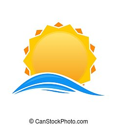 Cartoon sun over sea waves