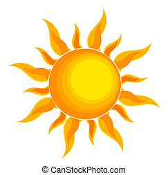 Sun over white - vector illustration