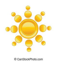Sun over white - vector illustration