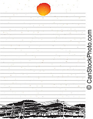 sun., papper, resning, ark