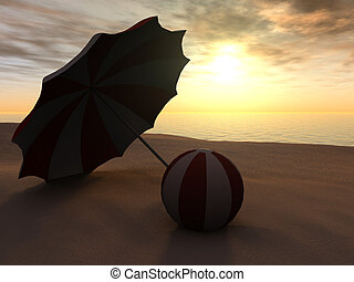 Sun parasol and beach ball on a beach at sunset.