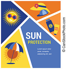 sun protection at summer time. vector illustration .
