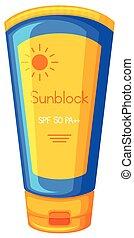 Sun Protection Cream on White Background illustration