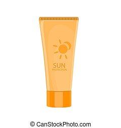 Sun protection cream tube. Sunscreen icon. Vector...