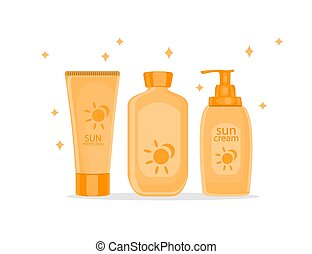 Sun protection cream tubes and Cosmetic Jars or Bottles....