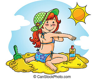 girl at the beach applying sunscreen on her skin