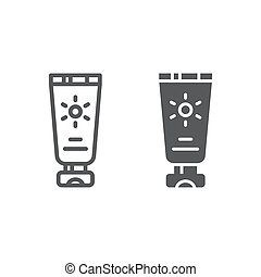 Sun protection line and glyph icon, cream and cosmetic, sunscreen sign, vector graphics, a linear pattern on a white background.