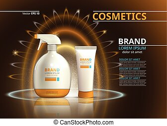 Sun protection realistic product design. Cosmetic bottle on a blur sparkling background. Template for ads or magazine. 3d illustration