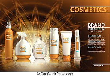 Sun protection realistic product set collection. Cosmetic bottles with logo label design on a blur sparkling background. Template for ads or magazine. 3d illustration