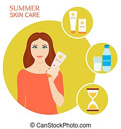 Sun protection set - Summer skin care set. Skin sun ...