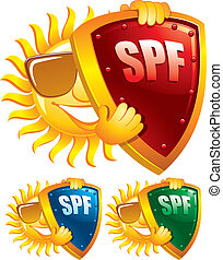 Sun protection symbol, creative vector illustration. Can be used as an icon.