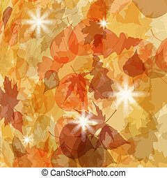 Sun pushing through a varicoloured leaves. EPS 8