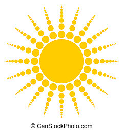 Sun - Radiating sun on white background