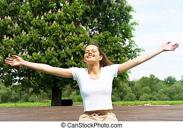 sun., ragazza donna, sunbeams., nature., bellezza, libero, sopra, felice, outdoor., libertà, cielo, concept., enjoyment., godere